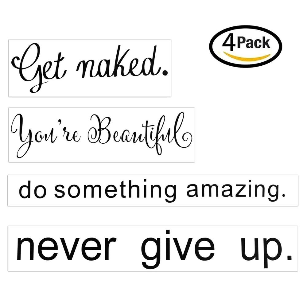Never Give Up,Do Something Amazing,Believe In yourself,Get Naked Vinyl Wall Lettering Quotes Sayings Sticker Mirror Wall Murals(China)