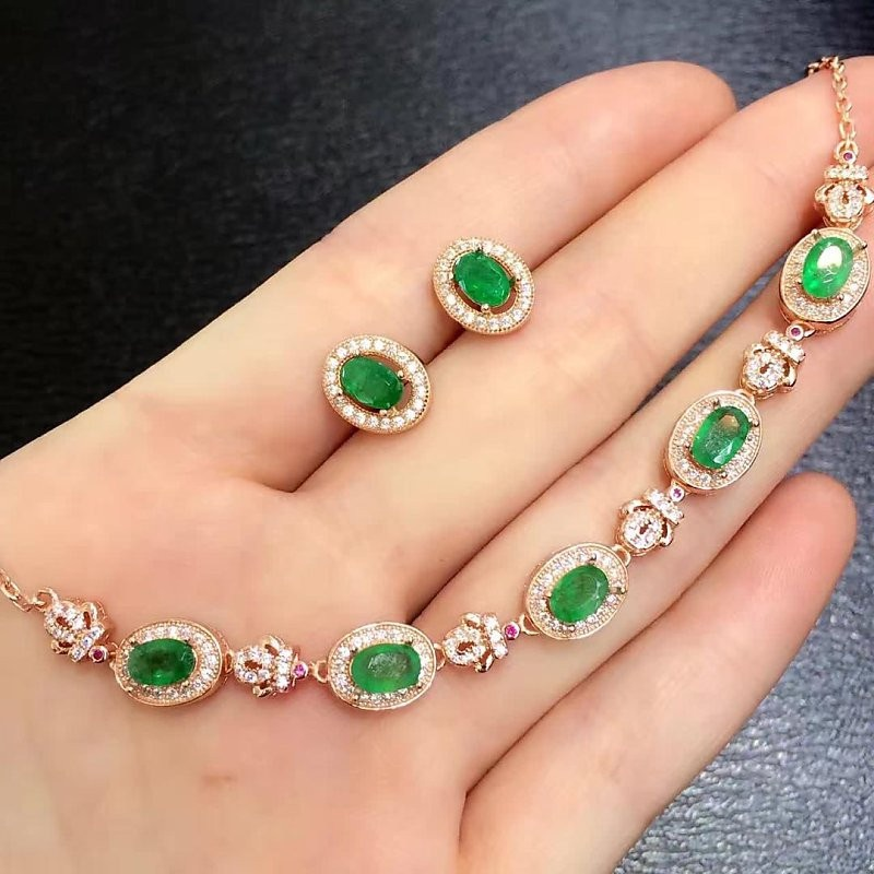 2017 Qi xuan_mode bijoux _ colombie vert pierre élégant bijoux Set_S925 solide argent bijoux Set_Factory directement ventes