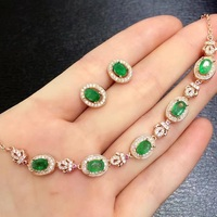 Qi Xuan_Fashion Jewelry_Colombia Green Stone Elegant Jewelry Set_S925 Solid Silver Jewelry Set_Factory Directly Sales