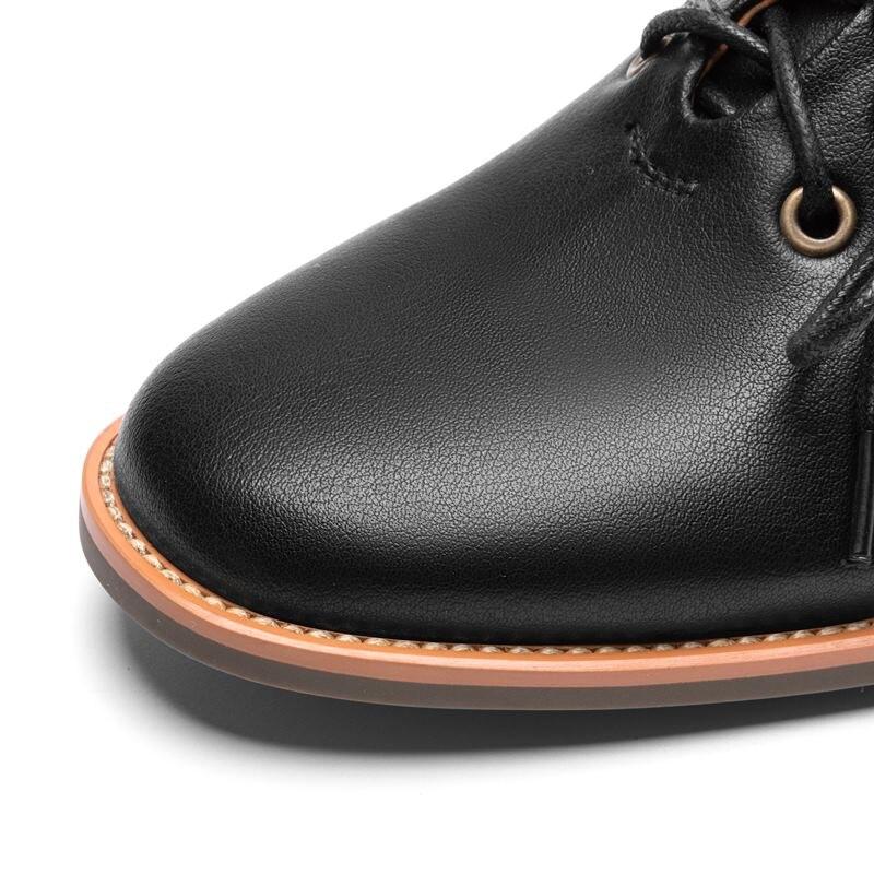 ALLBITEFO taille: 33 40 pleine marque de cuir véritable femmes chaussures à talons hauts talon épais bureau dames chaussures printemps filles chaussures-in Escarpins femme from Chaussures    3