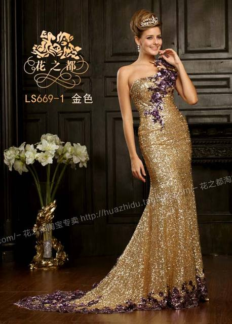 One Shoulder Purple Gold Sequins Dress Luxury Evening