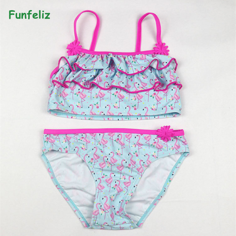 Funfeliz Blue Swimsuit for Girls 2 12 Years Two Pieces Bathing Suits Cartoon Flamingo Girls Swim wear Children Swimwear Tankini in Children 39 s Two Piece Suits from Sports amp Entertainment