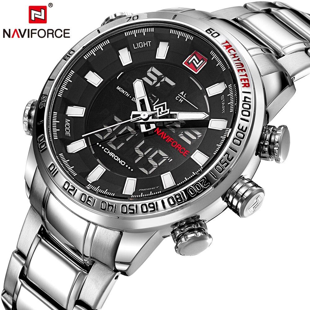 Naviforce mens del análogo de cuarzo reloj de moda de lujo reloj deportivo impermeable acero hombre relojes Relogio Masculino