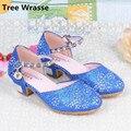 Los niños Sandalias de La Princesa muchachas Del Verano Rhinestone Transpirable Mediados Talón Solos Zapatos Niños Zapatos de Vestir Zapatos de Fiesta Del Árbol de Napoleón