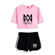Marcus Martinus Tracksuit Women T-shirt Two Piece Set Summer Printed T Shirt Kpop Album Woman Suit Crop Tops + Shorts Pants(China)