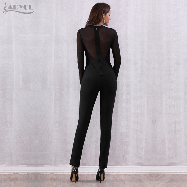 Black Mesh Hollow Out Long Sleeve Rompers Jumpsuit Bodycon Bodysuits 5