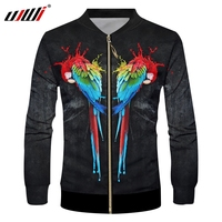 UJWI Man Jacket Long Sleeve Funny 3D Jacket Printed Parrot Black and red Streetwear Plus Size 6XL Clothes Man Autumn coat