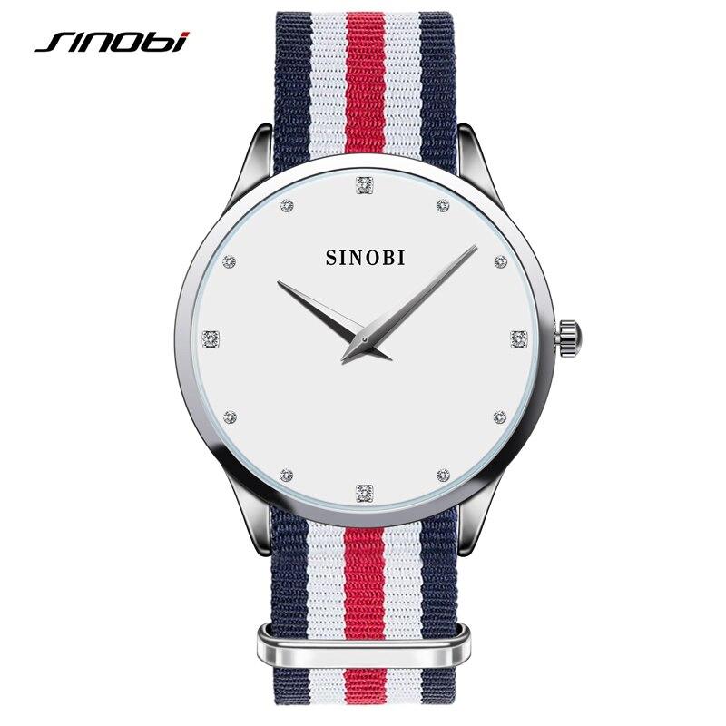 Sinobi Ultra Slim Nylon Strap Quartz Wrist Watch Womens Watches Top Brand Luxury Clock Ladies Quartz-watch relogio feminino 2016 аккумулятор yoobao power bank master m3 yb 6013 7800mah silver