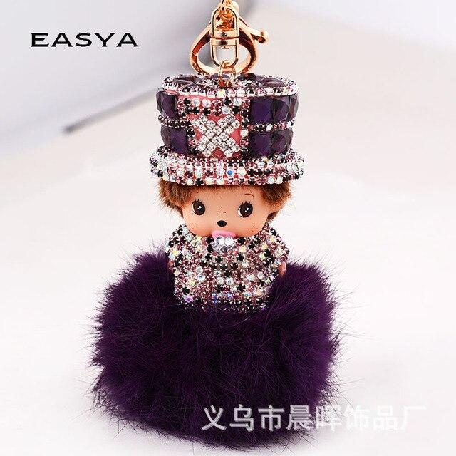 New Fashion Monchichi Car Key Chain Women Bag Crystal Cross Hat Rhinestone Doll Pendant Keychain Car-covers