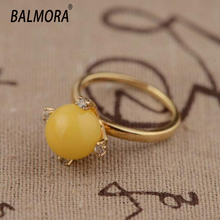 100% real pure 925 sterling silver ring exquisite silver yellow Beeswax with AAA Zircon Rings Best Gifts for women jewelry