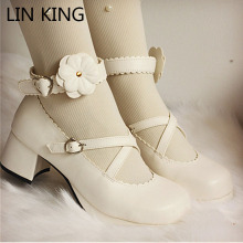 LIN KING Sexy Platform Women Pumps Janpanese Harajuku High Chunky Heels Cosplay Lolita Shoes Ankle Buckle Straps Wedding Shoes
