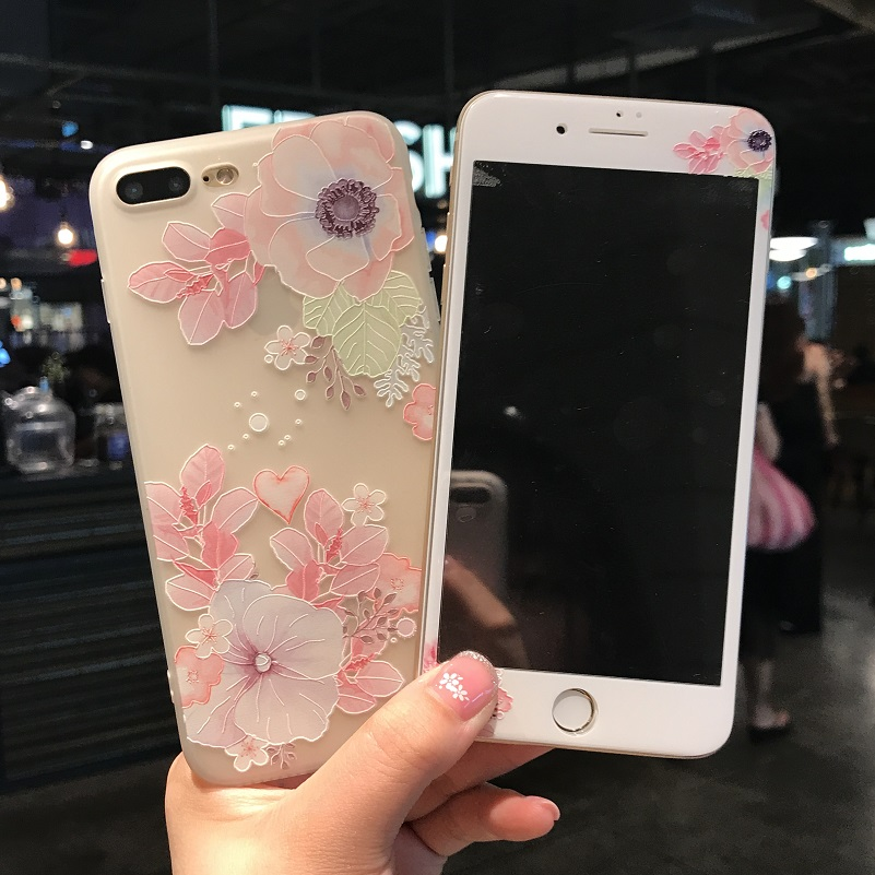 For iphone 7 7Plus case 3D Relief emboss TPU Cover + Tempered Glass Screen Protector Case for iPhone 6 6sPlus 8plus flowers case