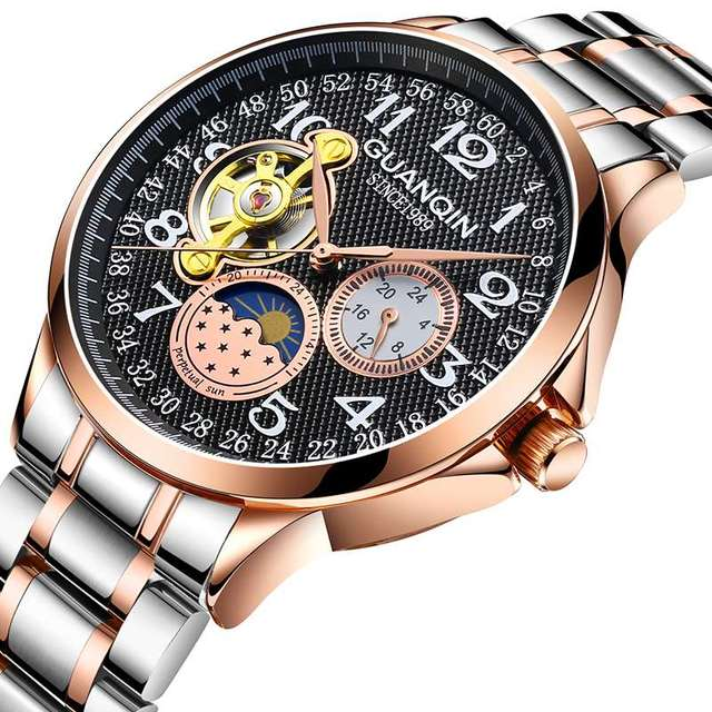 GUANQIN New model automatic business watch men waterproof mechanical Tourbillon men's watches top brand luxury relogio masculino