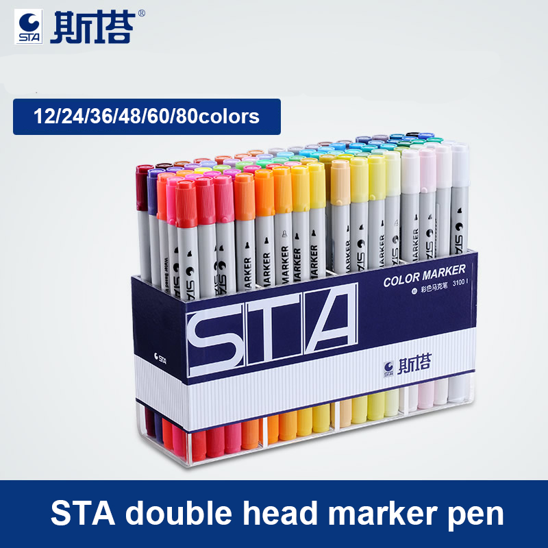 STA Double Head Marker Pen 12/24/36/48/60/80colors 1/4mm Alcohol Based Ink Non-toxic Art Markers for Student and Designer w110145 soft head fine water mark pen 48 60 color beginners painting professional equipment advanced ink student art suit
