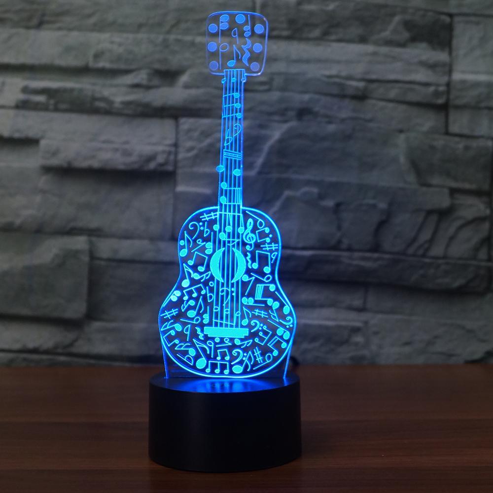 Визуальный дети спят освещения 3D ночник Подарки гитара с музыкальными нотами Форма <font><b>Led</b></font> 7 цветов изменить музыкальных инструментов настольна&#8230;