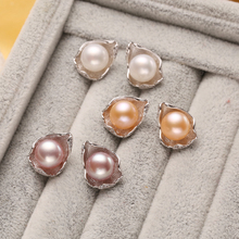 FENASY pearl jewelry , natural pearl earrings freshwater pearls sterling silver jewelry bohemian charms Stud Earrings Geometric