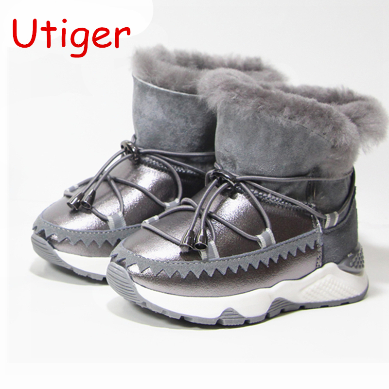 Kids Freezing Cold Winter Snow Boots Girls Warm High Top Shoes Boys Martin Boots Fashion Genuine Leather Children Snow Boot