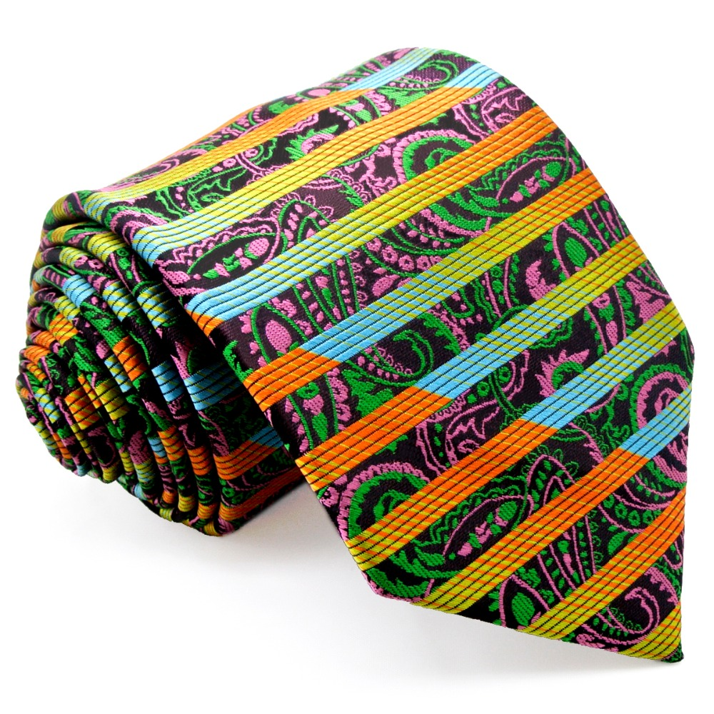 Free Shipping Stripes Paisley Multicolor Green Yellow Red Pink Black - Apparel Accessories - Photo 2