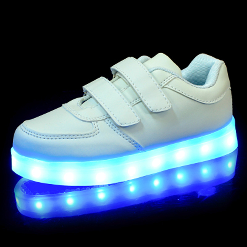 CCTWINS KIDS 2017 Baby Girl Pu Leather Sport Led Sneaker Children Kid Boy Fashion White Flat Toddler Glowing Light USB Shoe F394