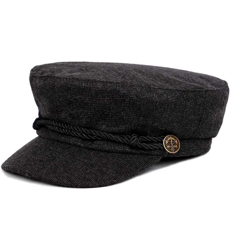2018 nueva moda Color sólido gorra militar rayas Newsboy sombrero hombre  mujer Otoño Invierno sombrero plano 0f6137cb925