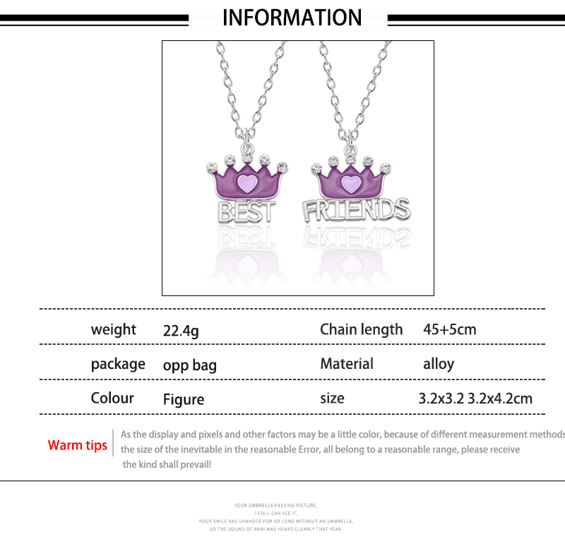 HTB110PMXifrK1RjSspbq6A4pFXa4 - Best Friend Necklace Women Crystal Heart Tai Chi Crown Best Friends Forever Necklaces Pendants Friendship BFF Jewelry Collier