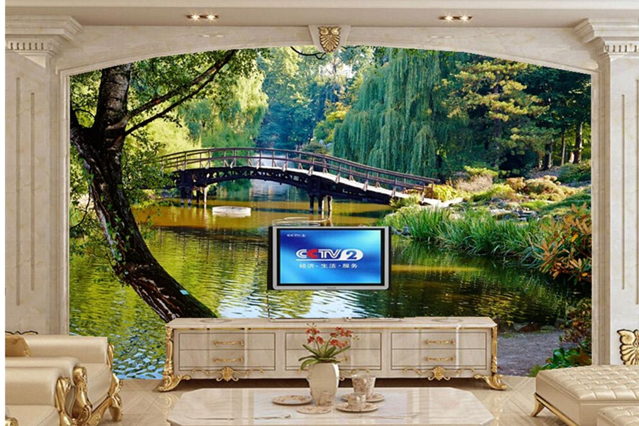Custom mural wallpaper 3d parks rivers bridges trees trunk for Custom mural wallpaper