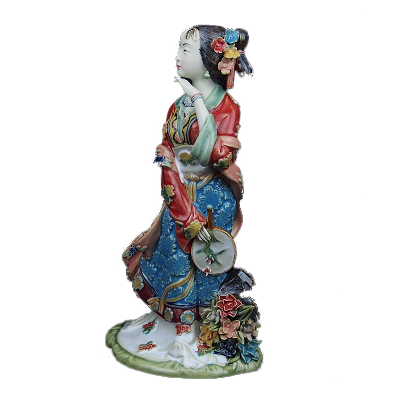 Hot Sale Chinese Female Ceramic Statue Collectible Figurines Antique Imitation Porcelain Sculpture for Christmas Decoration in Statues Sculptures from Home Garden