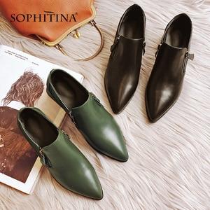 Image 2 - SOPHITINAสตรีปั๊มสแควร์สแควร์HeelสำนักงานวัวหนังPointed Toeซิปสบายๆรองเท้าสบายปั๊มMO34