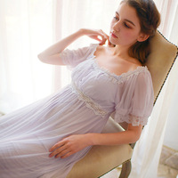 Summer Sexy Nightgowns Comfort Short Sleeves Sleepshirts Night Gown Long Lace Sleepwear Bow Sleep dress Women Dress Home Clothes
