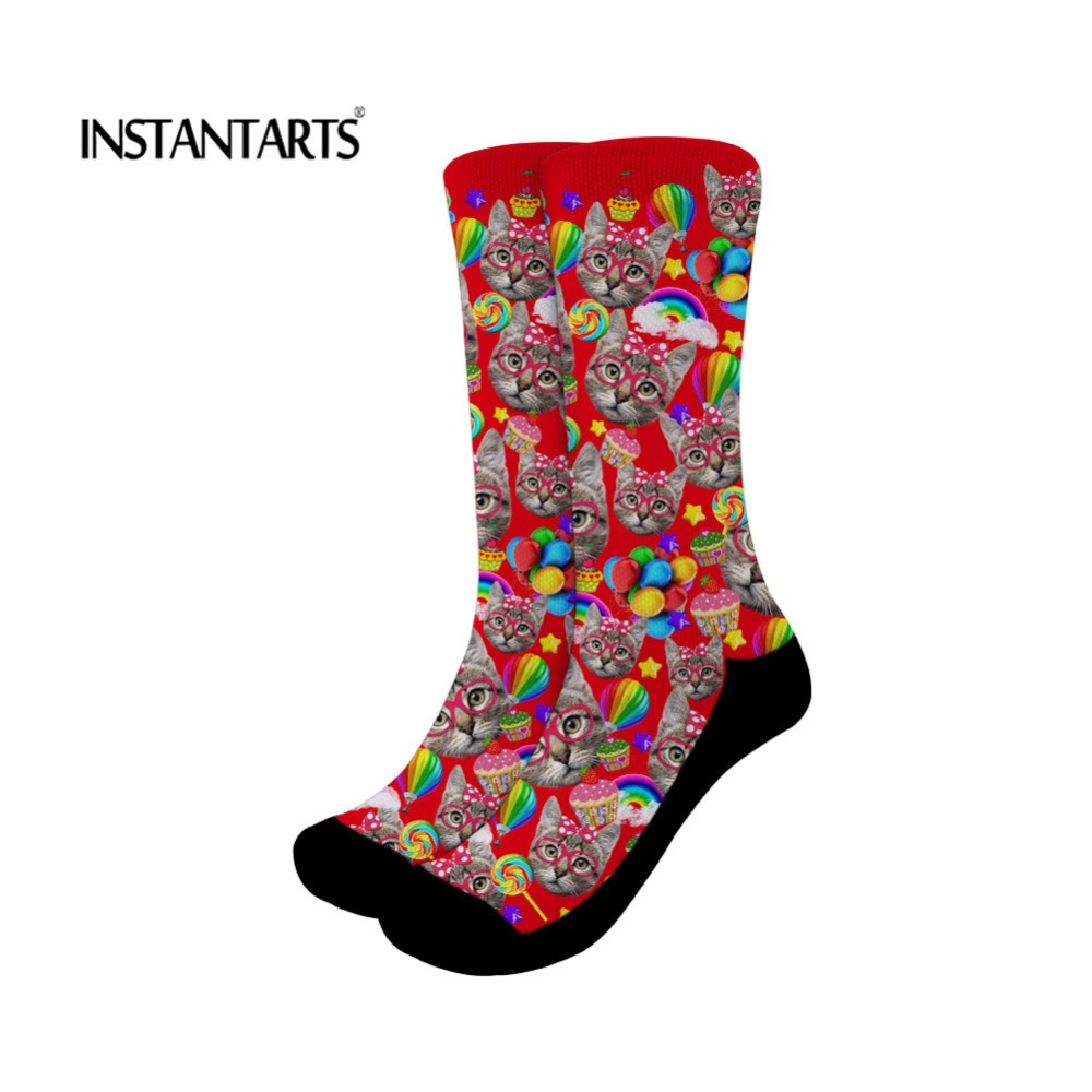 INSTANTARTS Sport Socks Cotton Women Cute Cats Pattern Breathable Outdoor Cycling Sock Professional Running Yoga Fitness Socks
