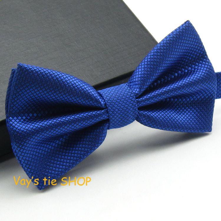 1PC Fashion Royal Blue Bow Tie For Men Jacquard Plaid Bowtie Grid Leisure Wedding Tuxedo Brand Cravat Free Shipping Butterfly