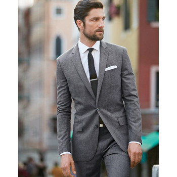 Hot Rushed Sale Flat Smoking Light Men Tuxedos Wedding Suits Notched Lapel Two Buttons Slim Fit 2 Pieces Suits(jacket+pants)
