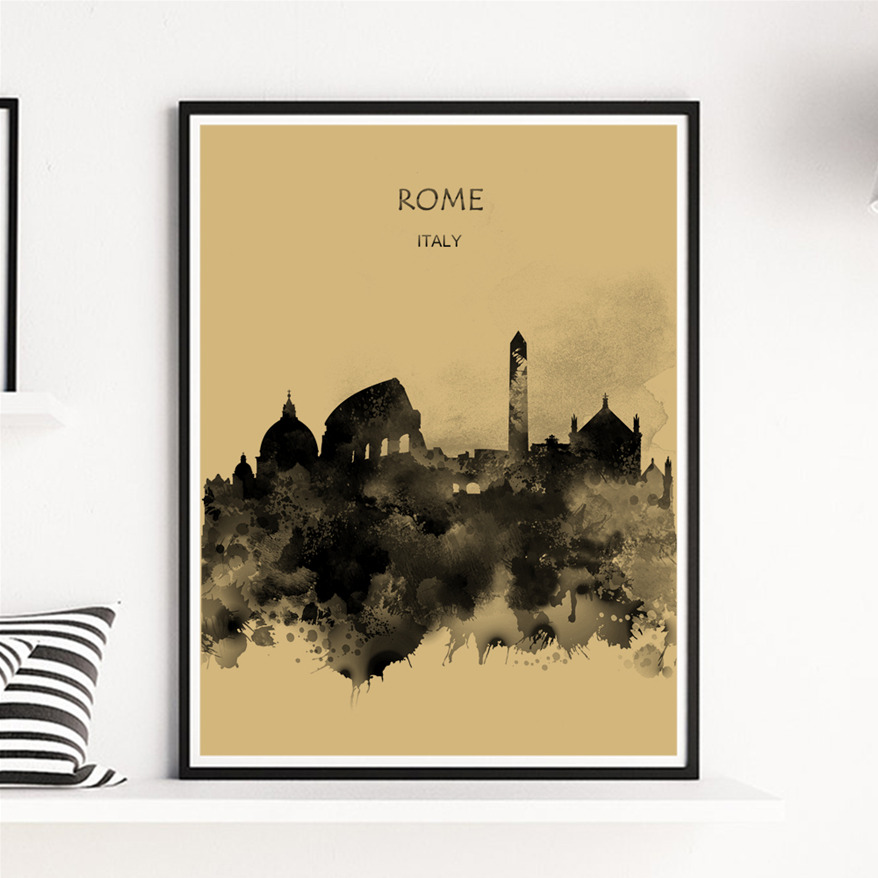 ROME Yellowish Black Poster Home Living Room Cafe Bar Pub Decor Kraft Paper Art Print Painting