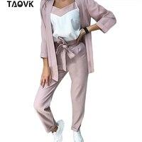 TAOVK New Women Striped Blazer 3 Piece Set Office Lady Pants Suit V Neck Jacket and Strap Vest and Pant Suits