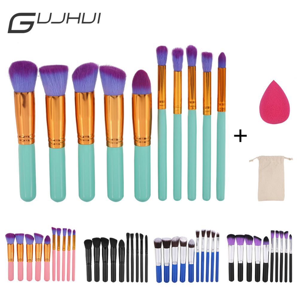 GUJHUI 10pcs Makeup Brushes Set Cosmetic Face Foundation Powder Eyeshadow Blush Blending Contour Make Up Brush with Puff and Bag 24pcs makeup brushes set cosmetic make up tools set fan foundation powder brush eyeliner brushes leather case with pink puff