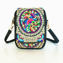 Ethnic style women's shoulder bag fashion floral embroidery casual messenger bag mini bag travel handbag(China)