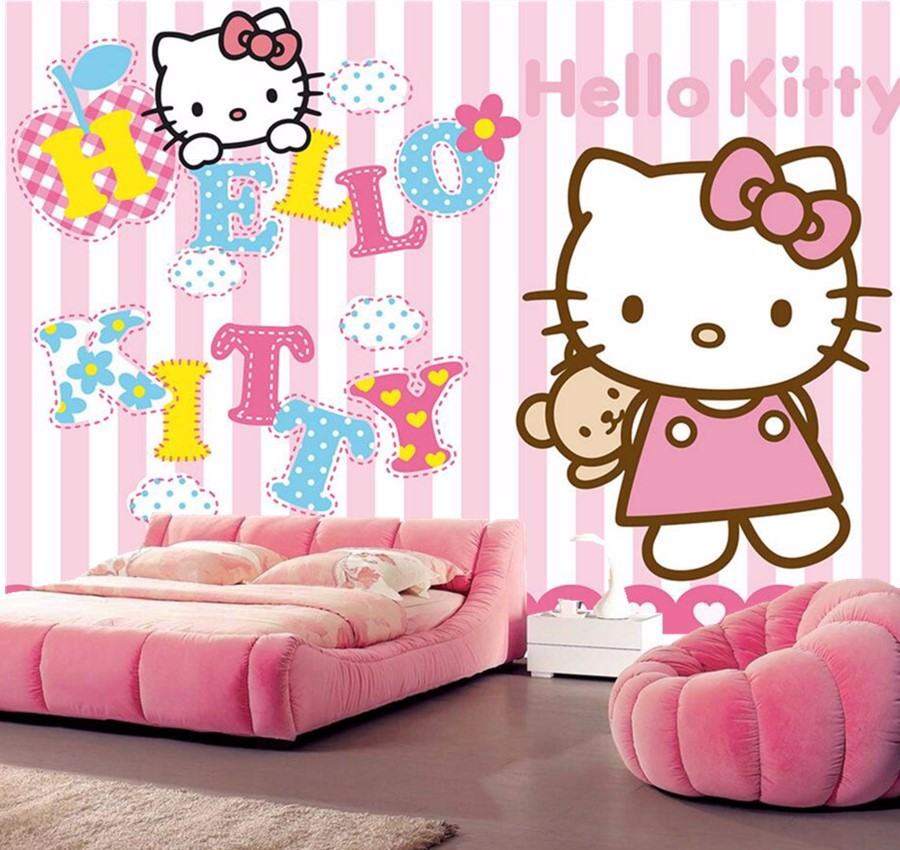 Custom wall papers home decor,Pink cute cartoon cat lovely wallpaper ...