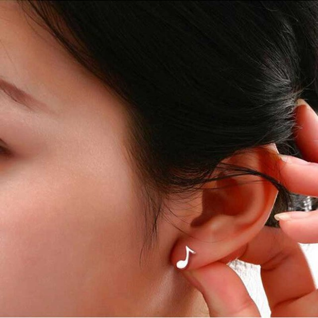 H:HYDE New Fashion 1 Pair Women Stud Earrings Asymmetry Musical Notes Silver Color Ear Studs Earrings for women Jewelry brincos 3