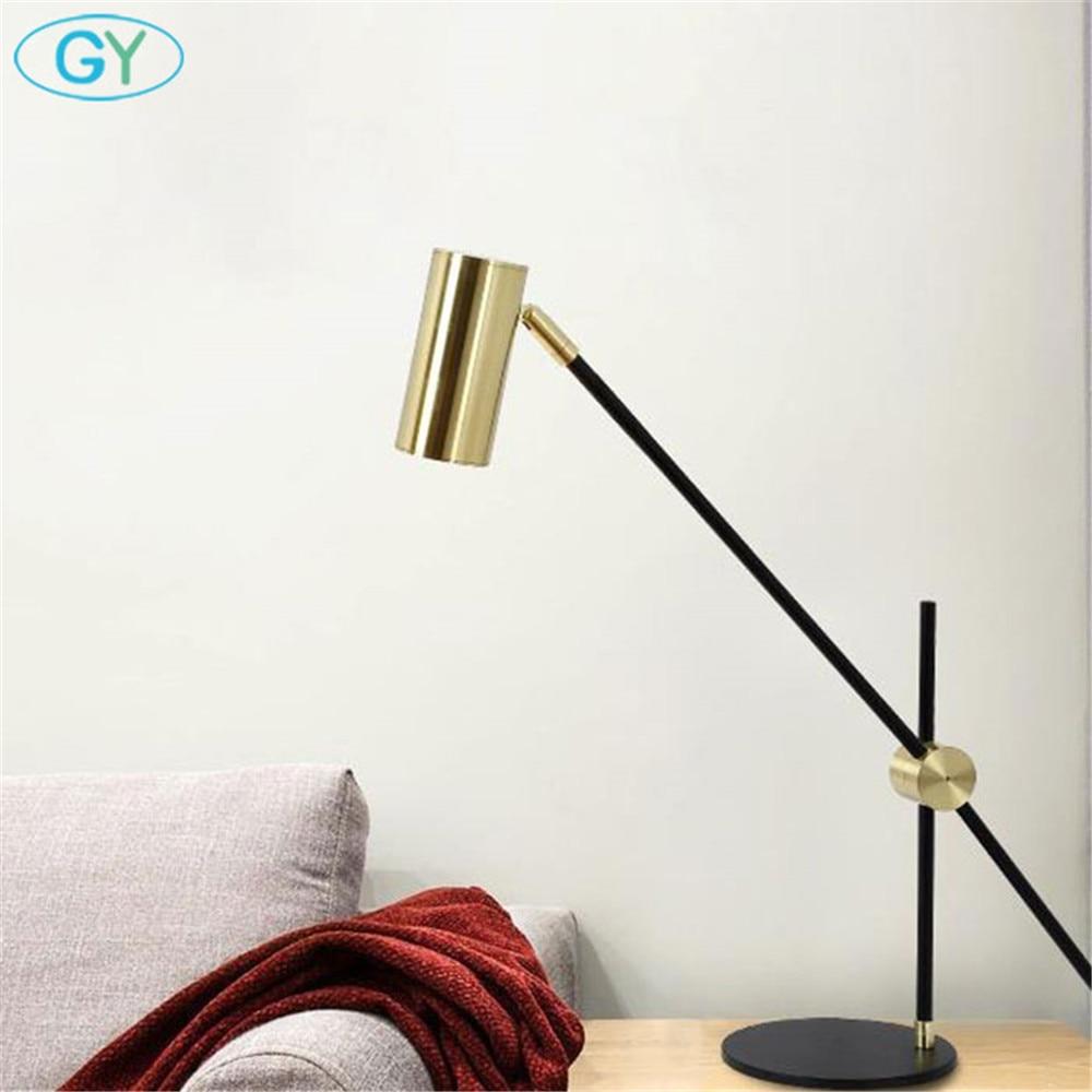 Скандинавский минималистичный светильник для дома, спальни, настольная лампа для чтения, черный бронзовый офисный Настольный светильник, художественный дизайнерский Регулируемый Настольный светильник ing - 4