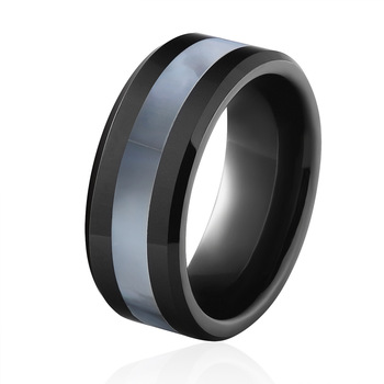High Quality Classic Design Black Ceramic Ring Inlaid Shells 6mm And 8mm Engagement Promise Wedding Woman Best Lover Ring Gift