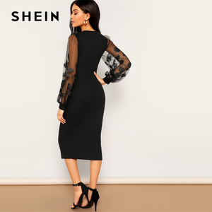 Image 2 - SHEIN Black Embroidery Mesh Insert Stretchy Bishop Sleeve Fitted Knee Length Bodycon Dress Women 2019 Spring Sheath Dresses