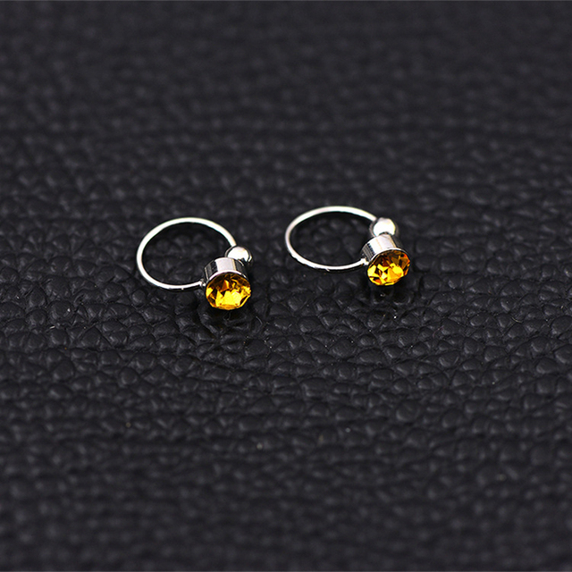 Clip Earrings 17 Colors Crystal Fake piercing Zinc Alloy Ear clips 4mm crystal 2
