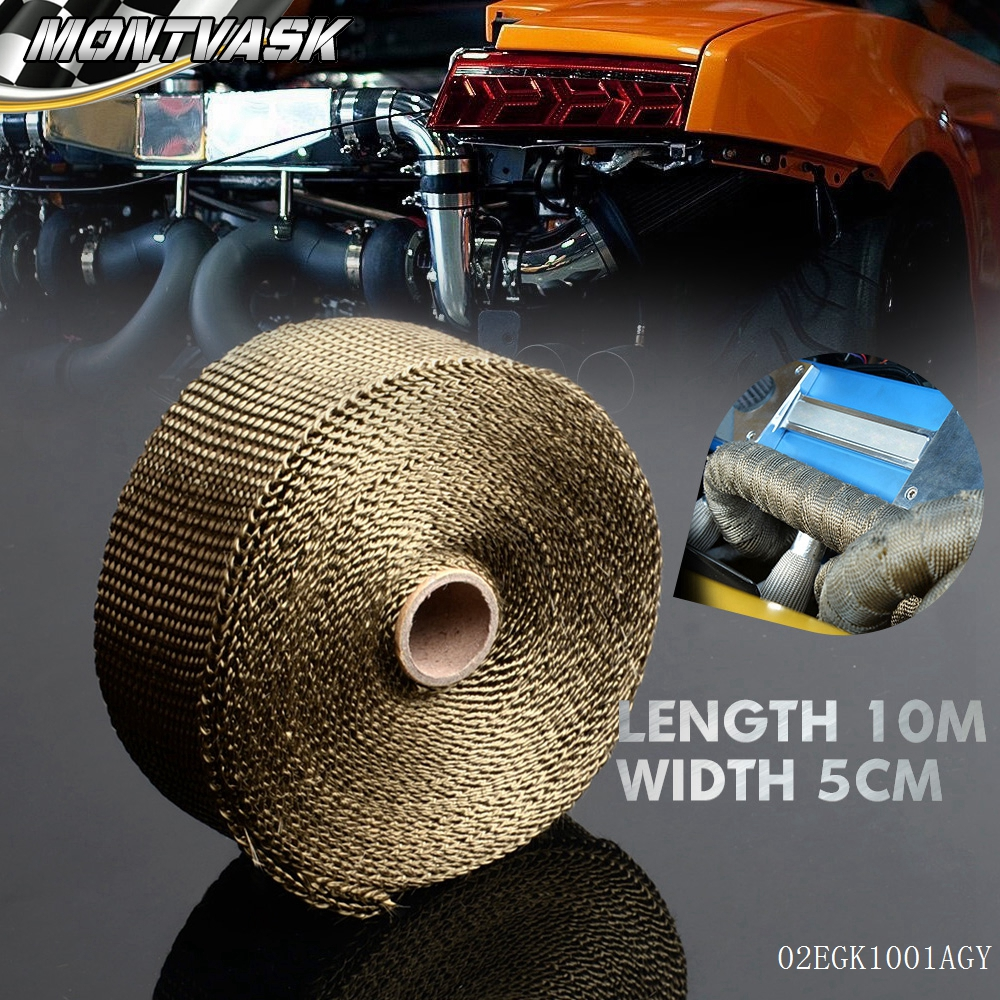 Free Shipping Basalt Exhaust Pipe Header Wrap Tape Kit 10m Turbo Thermal Thermo Protect1