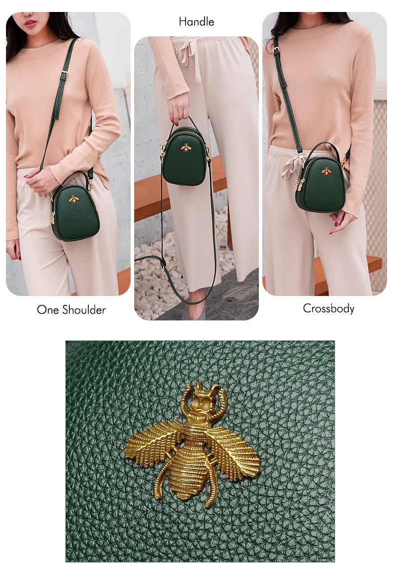 127a85a9f892 ... Mnee Luxury Leather Hand bags Women 2018 Small Wasp Vintage Sling Bag  Handbag Women Designer Crossbody ...