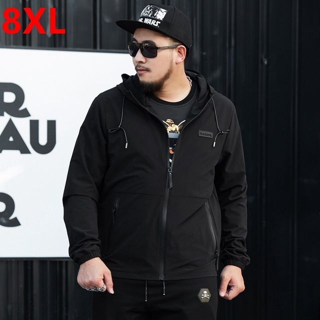 Big size men's jacket plus size clothing with a hood trench spring and autumn male jacket outerwear oversize big men 6XL 5XL