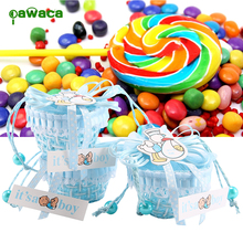 12Pcs/Pack Bear Pattern DIY Candy Box Girls Boys Birthday Shower Party Basket Candy Box with Ribbons Christening Gift Boxes
