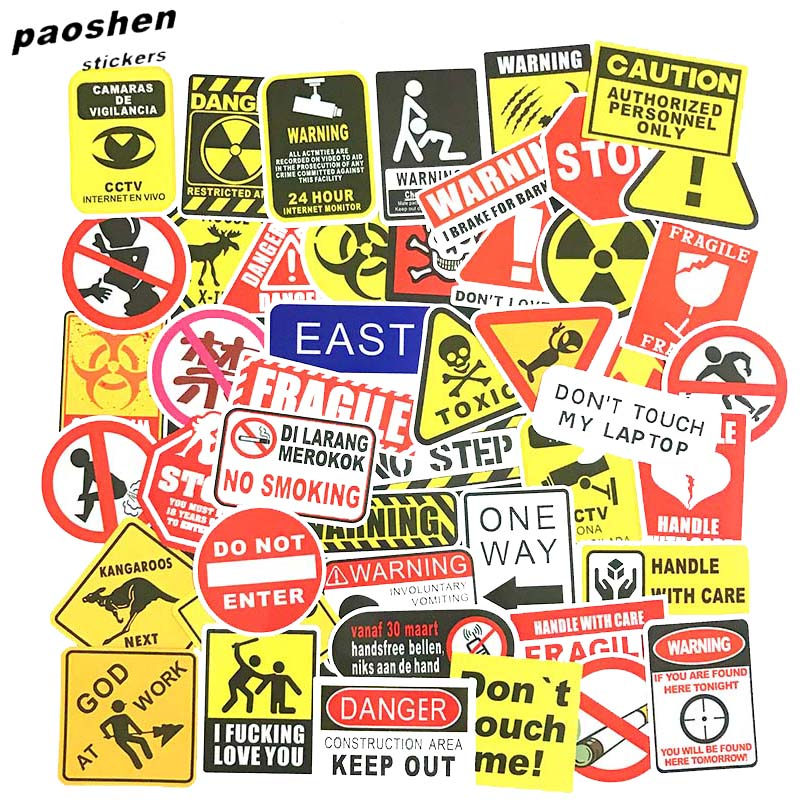50 Pcs Warning Stickers For Private Space Residential Cars Safety Warnings Luggage Laptop Skateboard Motorcycle Bicycle Stickers