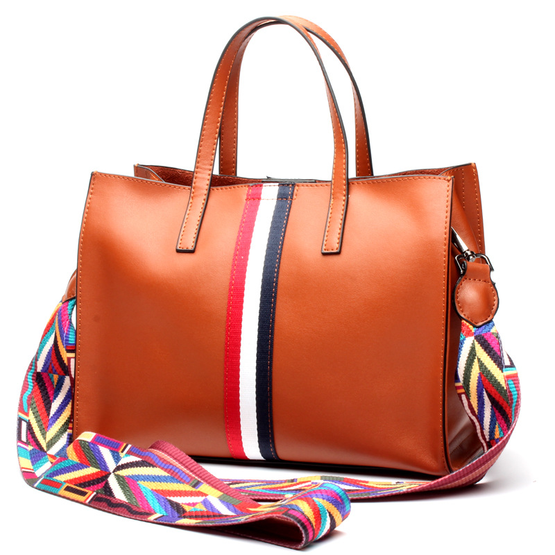 High quality Women Classic casual stripe tote bag fashion Cow Leather Mummy bags shopping bags ladies Commuter OL Shoulder Bag