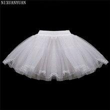 Нижняя юбка Детская 3 слоя Hoopless короткие юбки платье с цветочным узором для девочек кринолин для свадьбы для маленьких девочек/Дети/детский подъюбник