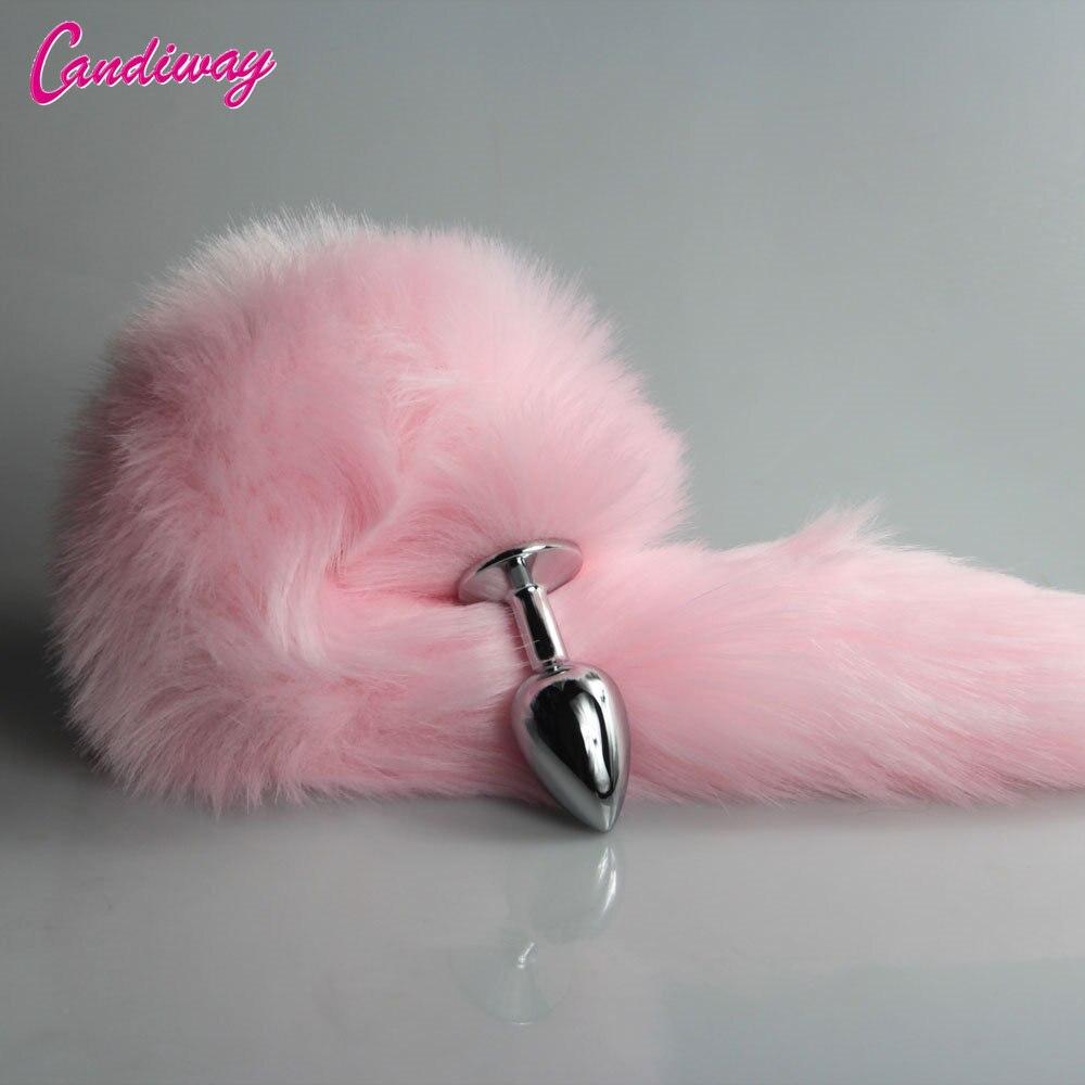 Rosa raposa/cauda do cão metal peludo anal plug brinquedos sexy butt plug bdsm flertar ânus plug para as mulheres selvagem gato cauda adulto brinquedo roleplaying